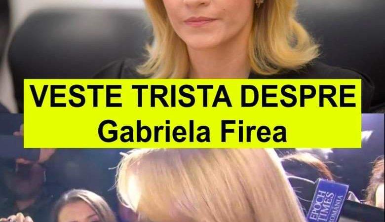 Veste Tristă de ULTIMA ORA! Din păcate este vorba despre Gabriela Firea…